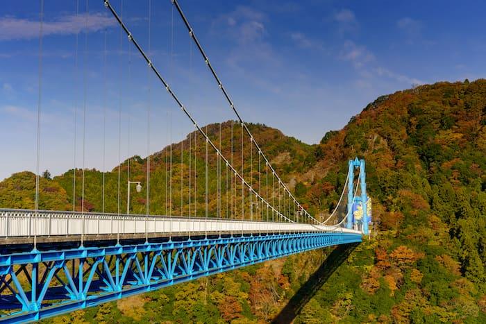 竜神大吊橋の紅葉を写真撮影