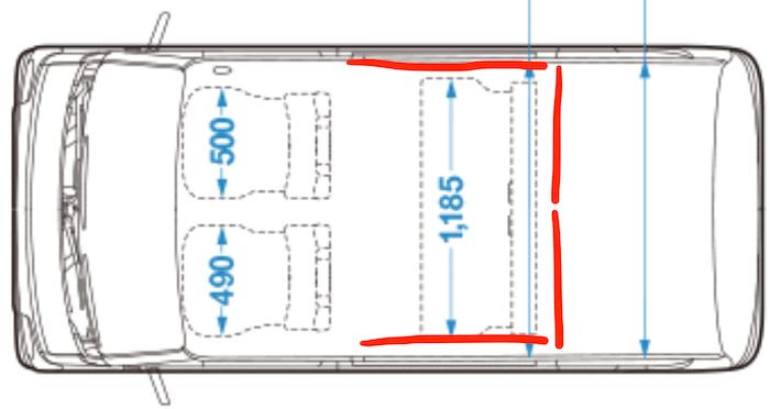 後部座席窓と荷室を仕切るカーテン